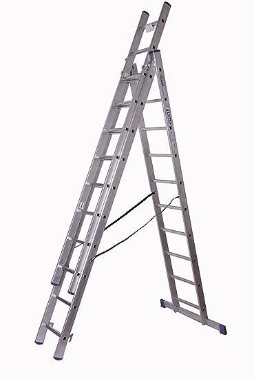 Alu-escalera de extensión 3 x 10 peldaños, altura de trabajo: 6,8 m, 276 x 48 x 17, aluminio: Amazon.es: Bricolaje y herramientas