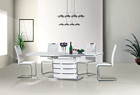 Fano White High Gloss Modern Extending Dining Table 180 160 140 Or 120 Cm 90 X 140 200 Cm Amazon Co Uk Kitchen Home