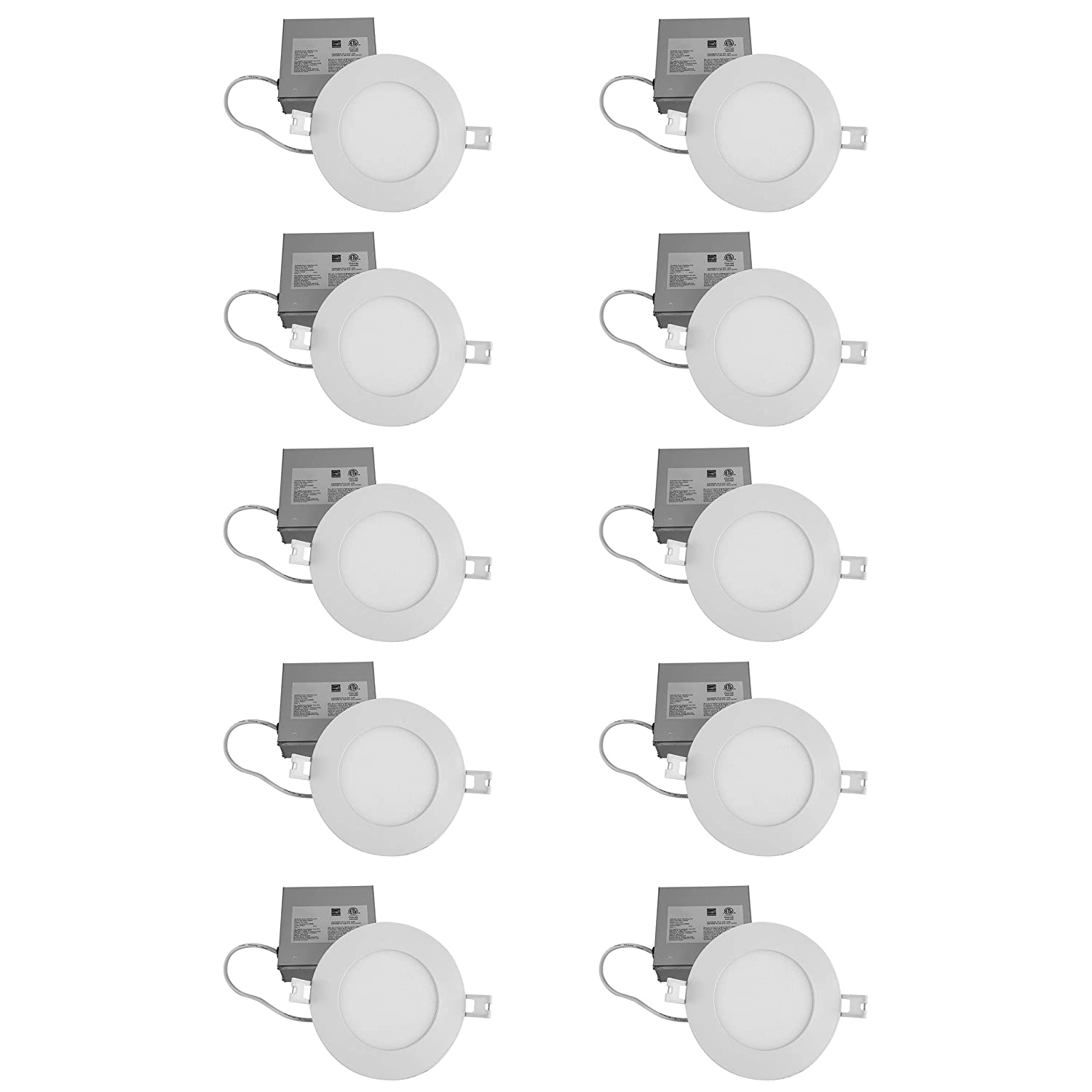 QPLUS 4 Inch LED Slim Panel Recessed Light Retrofit Pot Light, 10 Watts (Equivalent To 75W), 5000K Day Light, Dimmable, 750 Lumens, IC Rated, CSA/Energy Star/cETLus Certified (5000K Day Light) (10 Pack) Dot Lighting