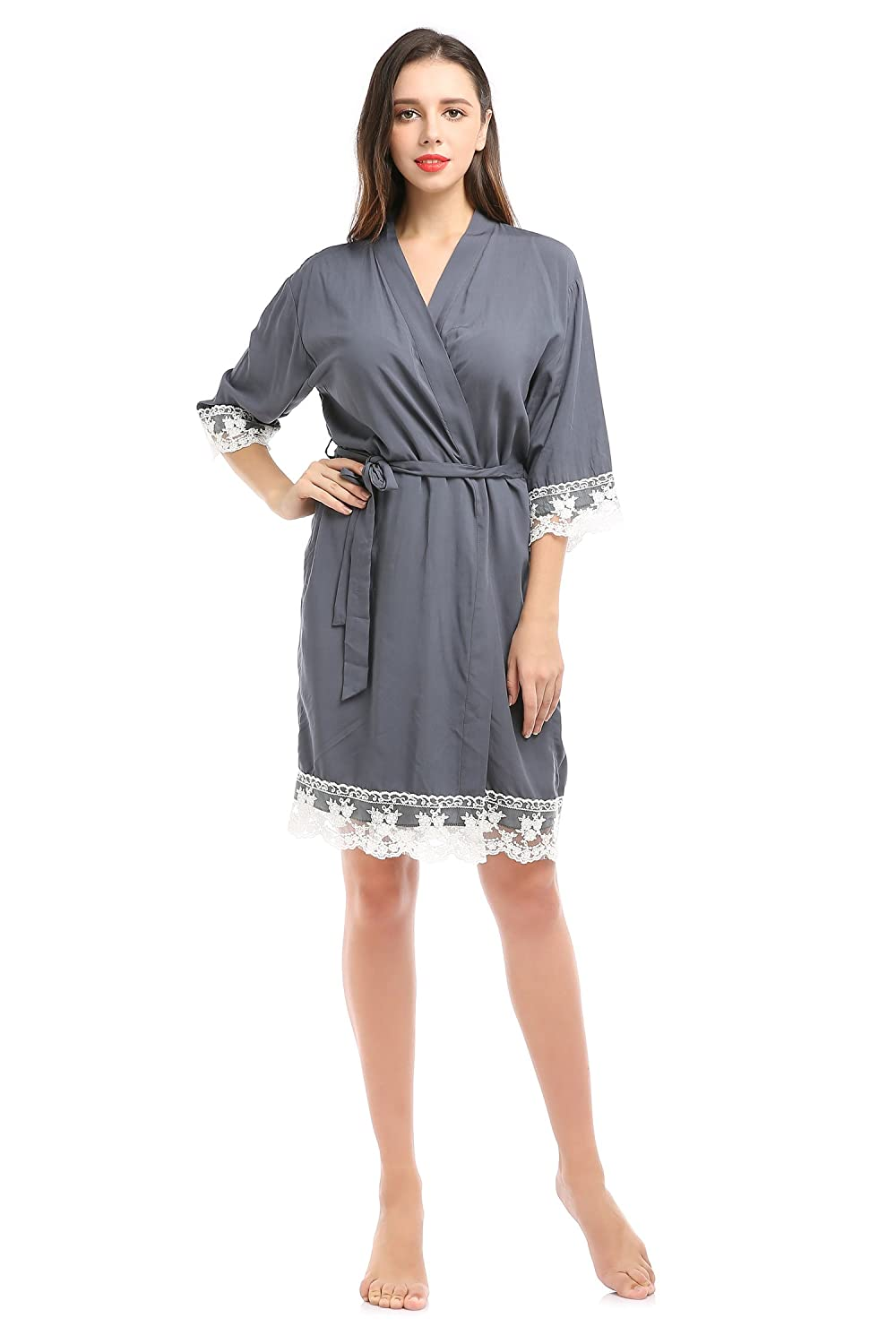 aa9f348d5f YueQiW Women s Soft Rayon Cotton Robe for Bride and Bridesmaids with Floral  Lace Nightwear at Amazon Women s Clothing store