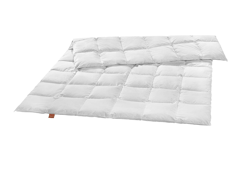 Sleepling Premium Luxus Daunendecke Made in Germany aus 100% silberweißen Gänsedaunen medium (480 gr. Füllgewicht), 135 x 200 cm, weiß