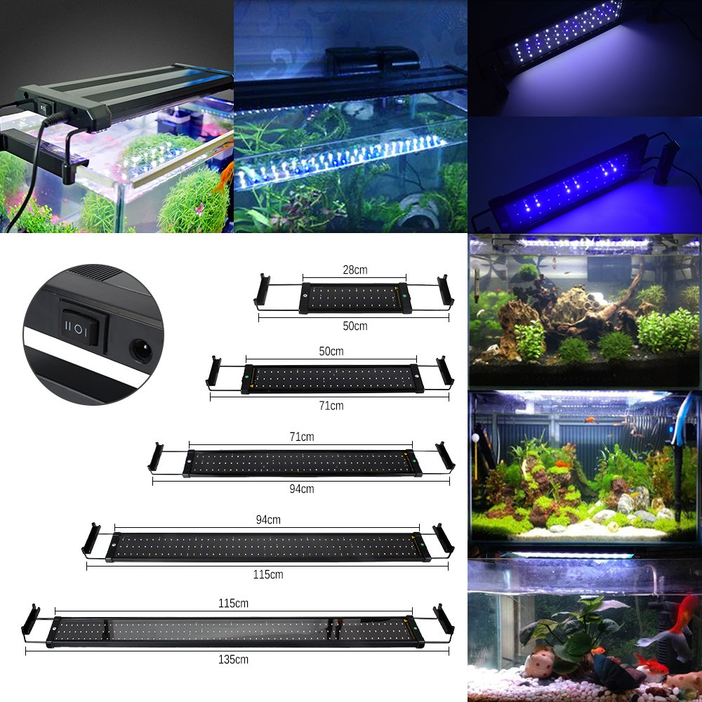 GreenSun Lámpara de Acuario Luces para Acuarios y estanques Se aplica a 50 cm 11W 60 LED Blanco y 12 LED Azul con Enchufe EU: Amazon.es: Bricolaje y ...