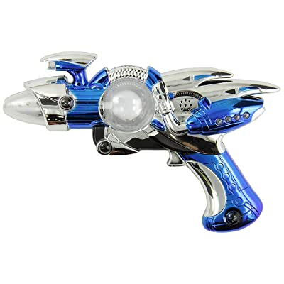 Rhode Island Novelty Super Spinning Laser Space Gun with LED Light & Sound( Colors May Vary ): Toys & Games [5Bkhe1004563]