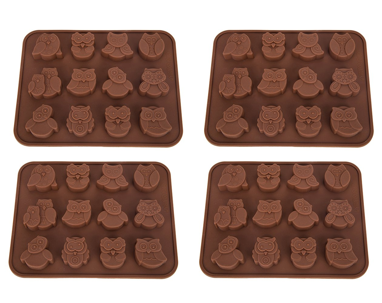 Tebery12 Owls Silicone CakeMold, 4 Piece Non-StickChocolate Jelly Candy Kids Gift Baking Craft Mold