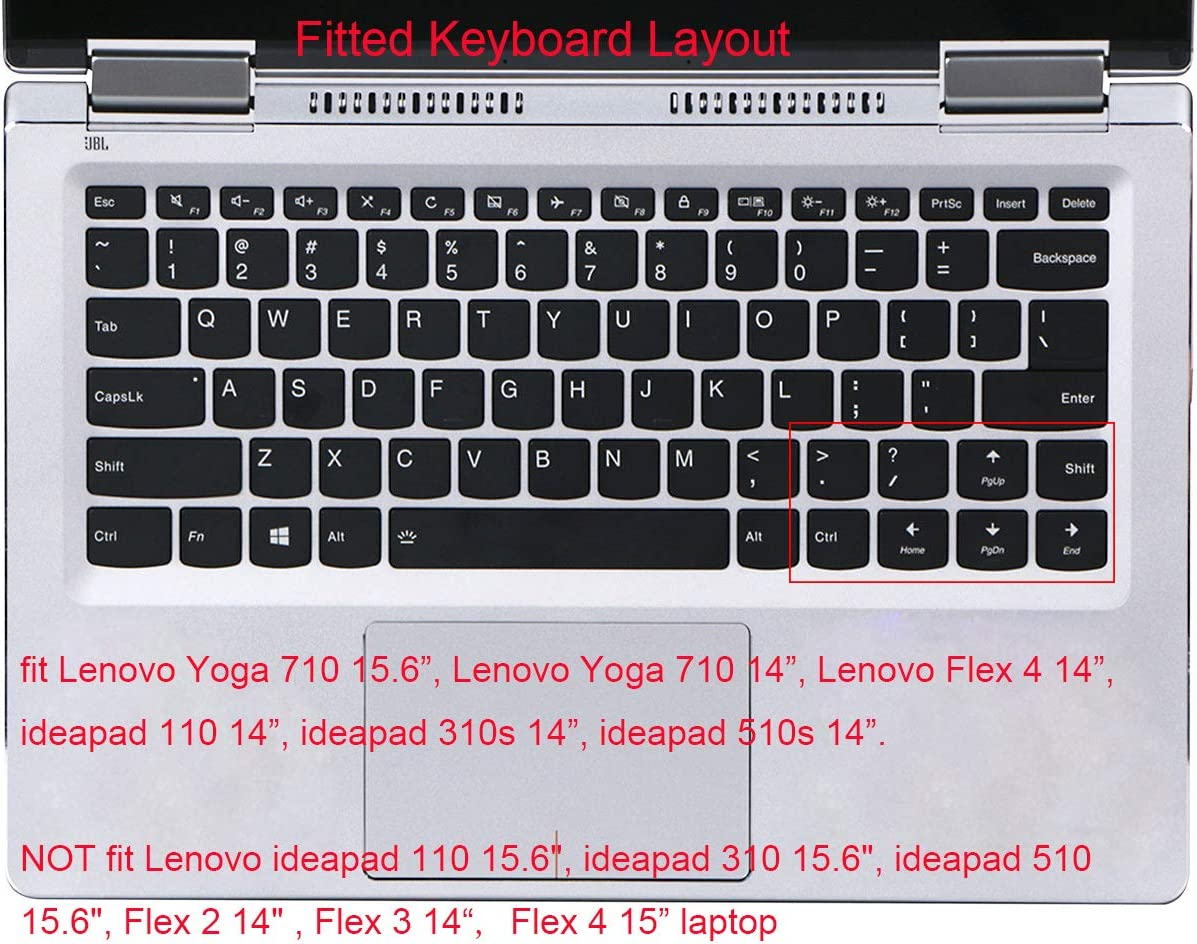 Clear Keyboard Protective Skin Cover Compatible with Lenovo Yoga 710 2-in-1 15.6 inch, Lenovo Yoga 710 14 inch, Lenovo Flex 4 14 inch, 14 inch ideapad ...
