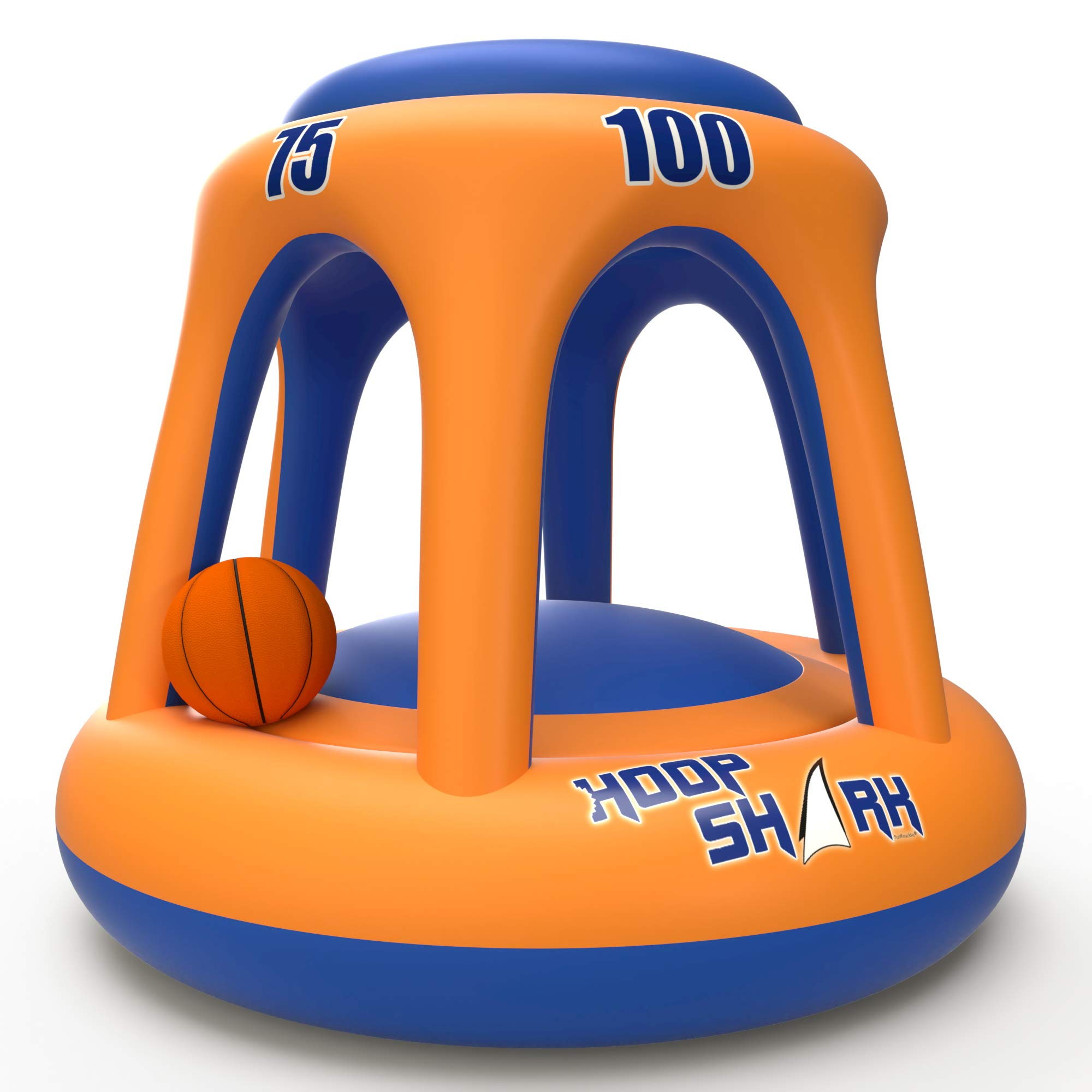 Swimming Pool Basketball Hoop Set by Hoop Shark - Orange/Blue 2020 Edition - Inflatable Hoop with Ball Included - Perfect for Competitive Water Play and Trick Shots - Ultimate Summer Toy by Hoop Shark