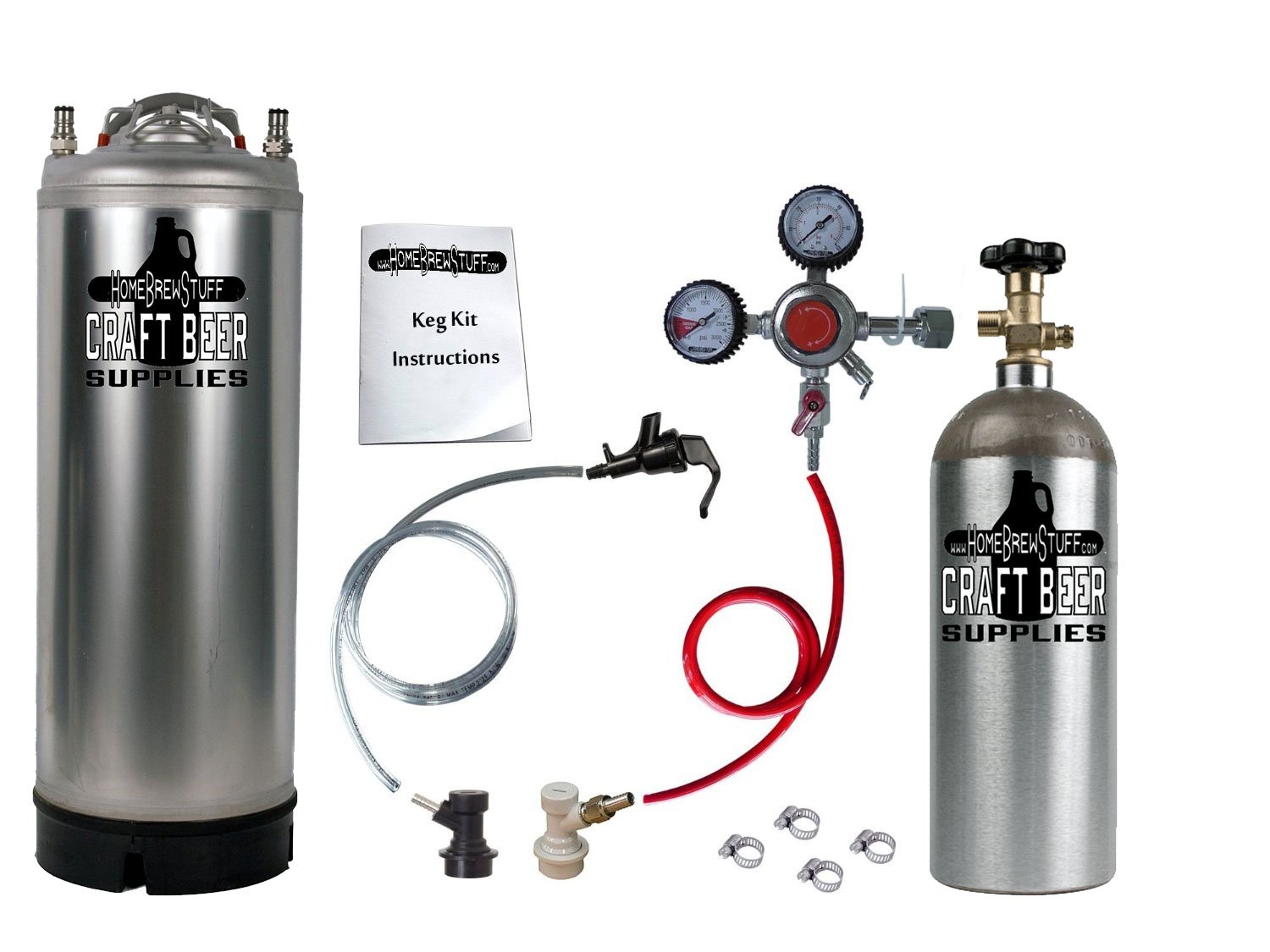 One Keg Homebrew Party Kegerator with New Kit Ball Lock Keg and 5 LB Co2 Tank