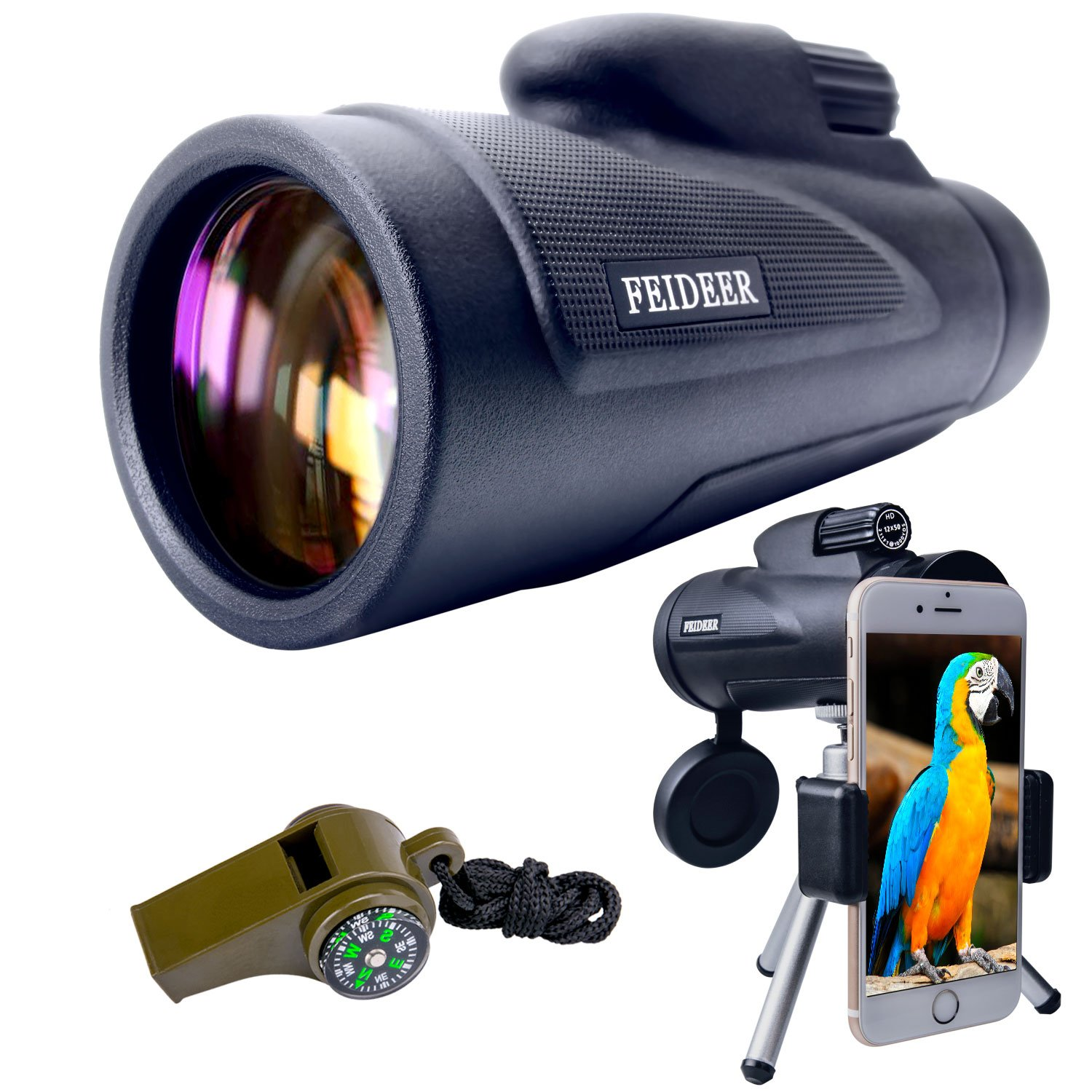 FEIDEER 12x50 Monocular Telescope High-powered HD BAK4 FMC Prism Waterproof Fogproof Shockproof Monoscope With Smartphone Holder and Tripod Low Light Night Vision For Concert Camping Bird watching Etc by FEIDEER