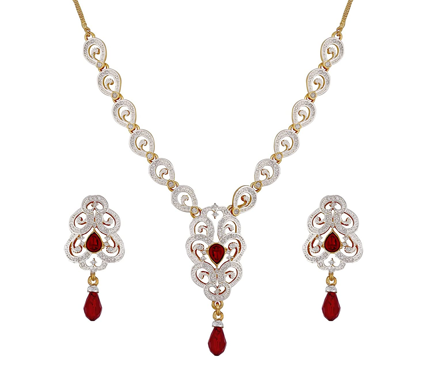 Buy sempre of london ruby red imperial cz crystal diamonds pendant buy sempre of london ruby red imperial cz crystal diamonds pendant necklace with earrings for women online at low prices in india amazon jewellery store mozeypictures Image collections