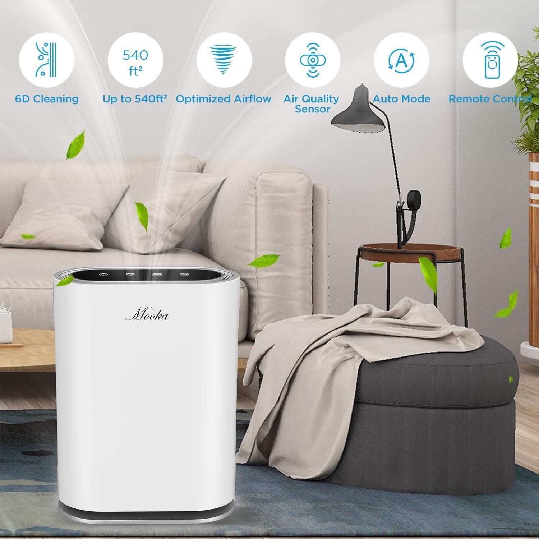 MOOKA True HEPA purificador de aire hasta 540 pies cuadrados ...