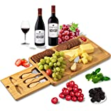 HHXRI Organic Bamboo Cheese Board and Knife Set for Kitchen, Serving Platter Cutlery & Serving Tray with Hidden Cutlery Drawer, 3 Compartments And 4 Cheese Knife, Best Choice for Party Wedding ... M Yellow