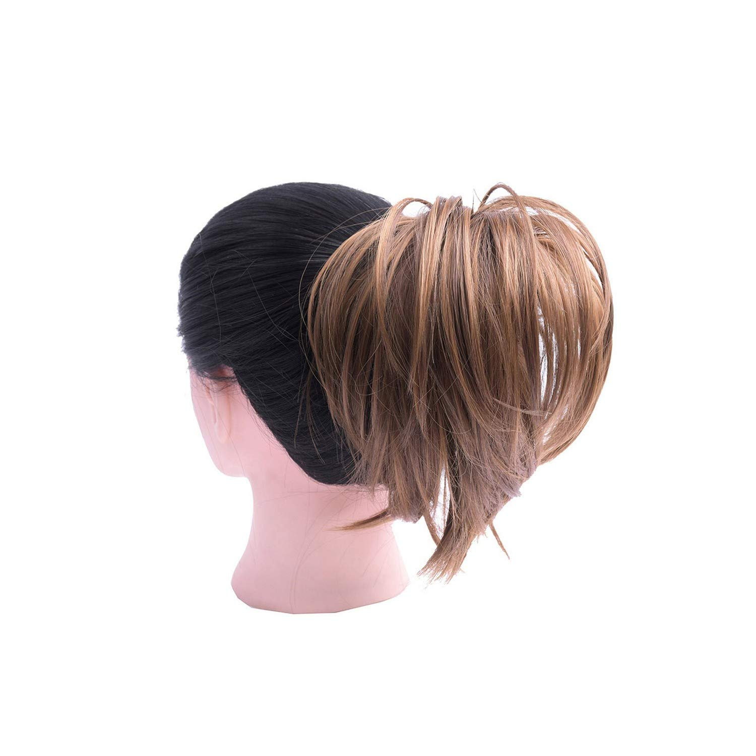 Synthetic Tousled Flexible Hair Bun Straight Donut Chignon Elastic Messy Scrunchies Wrap Ponytail Extension Women,10H27 by Rosing-wig caps