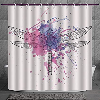 Stylish Shower Curtain 20 DragonflyGrunge Street Art Watercolor Moth Bug In Pink Rainbow