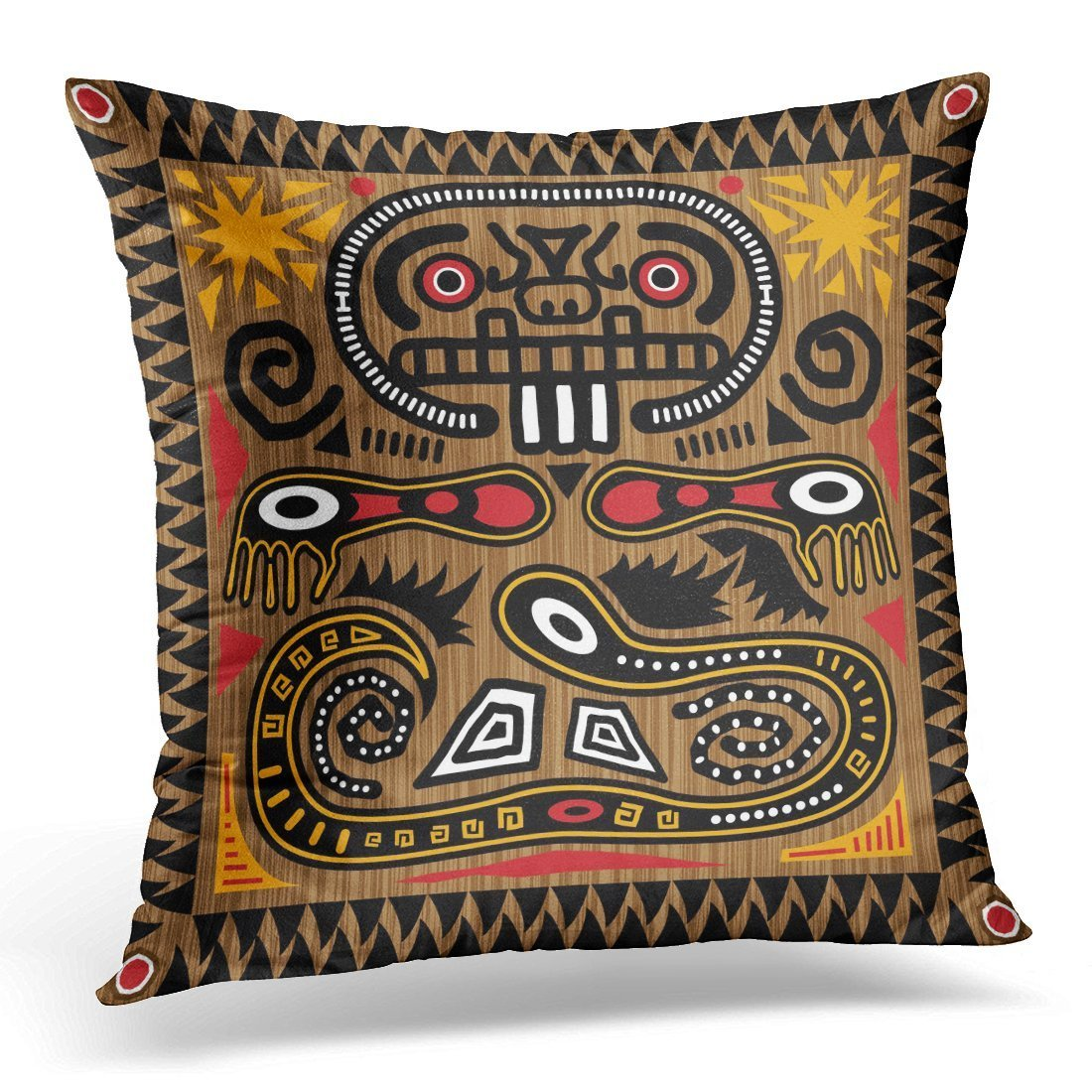 SPXUBZ Black Inca Aztec Tribal Pattern in Earth Tones Brown Mayan Aboriginal Decorative Home Decor Square Indoor/Outdoor Pillowcase Size: 16x16 Inch(Two Sides)