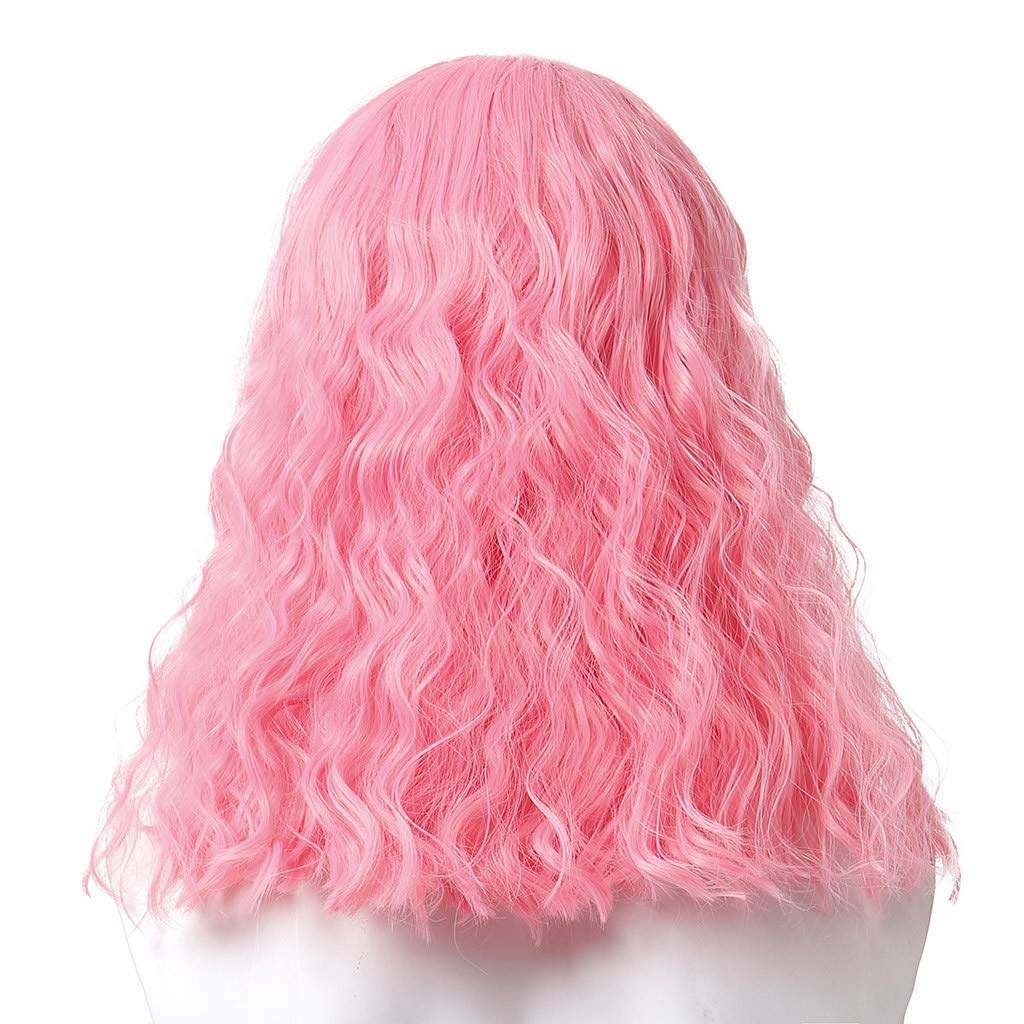 JYS Cosplay Wavy Wigs Full Head Pink Hair Wig Anime Cosplay/Costume Party Fancy Heat Resistant Fiber Dress Water Wave Lace Front Wigs Human Hair (Pink) by JYS (Image #5)