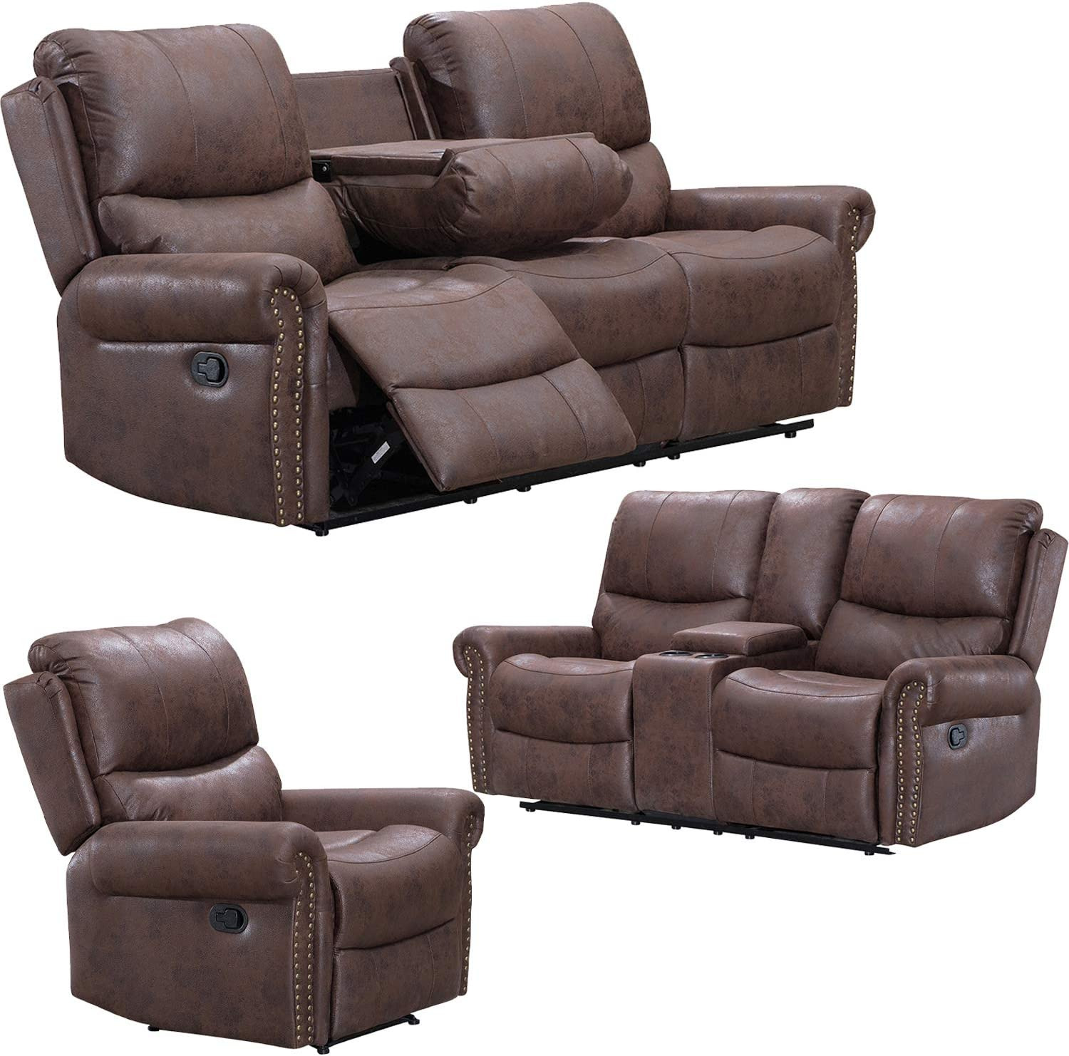 Brown,3 Piece Set Ainehome Recliner Sofa Bonded Leather Set 3 PCS Motion Sofa Loveseat Recliner Sofa Recliner Couch Manual Reclining Chair 3 Seater for Living Room