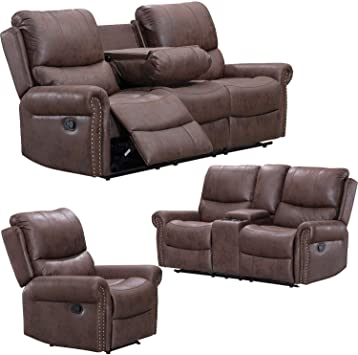 Amazon Com Recliner Sofa For Living Room Set Reclining Couch Sofa Chair Palomino Fabric Loveseat 3 Seater Home Theater Seating Manual Recliner Motion Home Furniture Furniture Decor