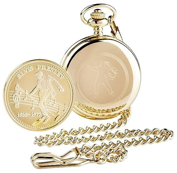 50 de firmado Elvis Presley dorado reloj de bolsillo completa Hunter y coleccionistas moneda llavero 24 quilates chapado en oro de lujo en caja de madera ...