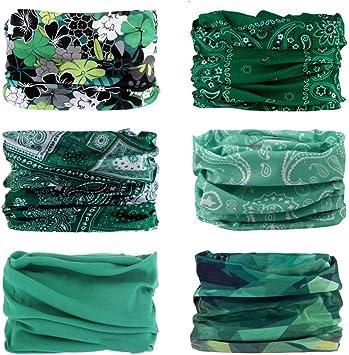 FAYBOX 6pcs Magic Wide Wicking Headbands For Men and Women Outdoor Headwear Tube
