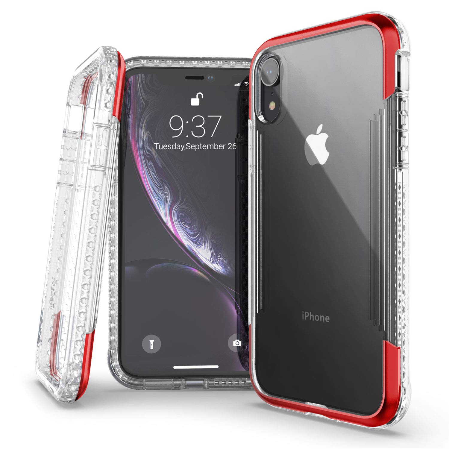 X-Doria Defense Air Series, iPhone XR Case - Military Grade Drop Tested, Anodized Aluminum, TPU, and Polycarbonate Protective Case for Apple iPhone XR, 6.1 Inch LCD Screen (Red)
