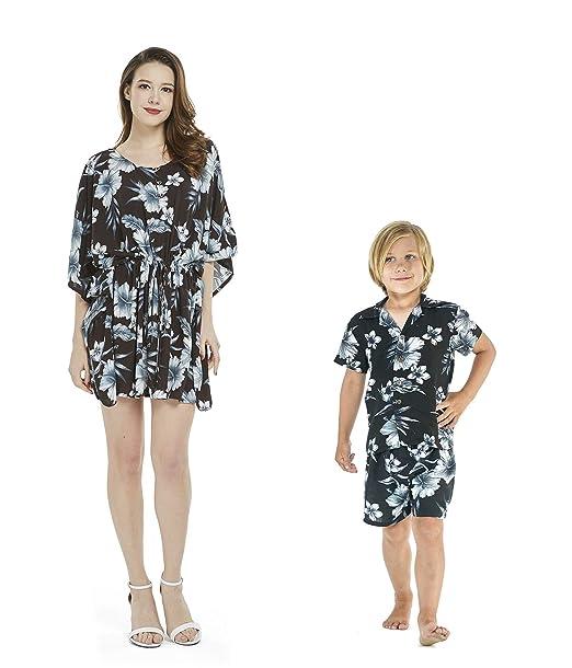 76b670b6911 Matching Mother Son Hawaiian Luau Outfit Poncho Dress Shirt in ...