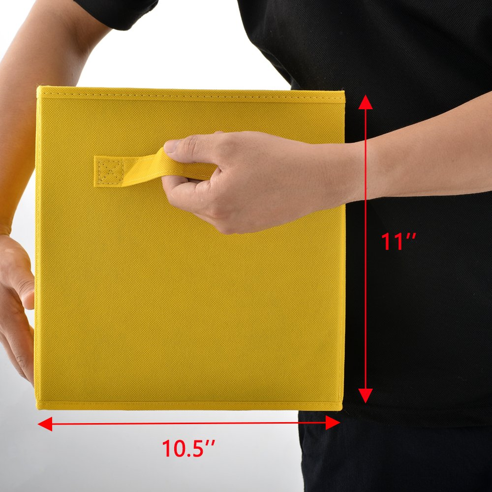 Wtape Practical Foldable Cube Storage Bins, 2-Pack Fabric Drawers, Yellow by Wtape (Image #6)
