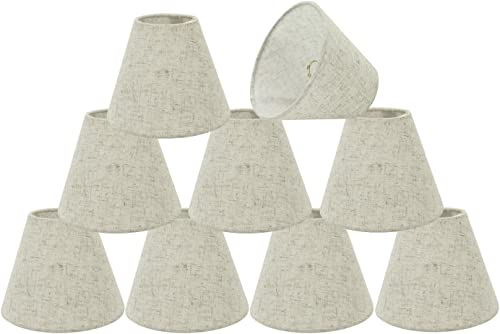 32039-9 Small Hardback Empire Shape Chandelier Clip-On Lamp Shade Set 9 Pack , Transitional Design in Off-White, 6 Bottom Width 3 x 6 x 5