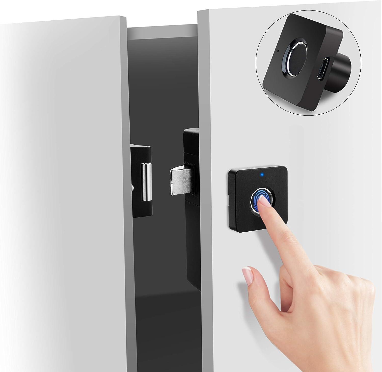 Smart Electronic Cabinet Locks Kit Set, Fingerprint Lock for Box Furniture Drawer Lock Cupboard, Home & Office Hidden File Cabinet Locks, Keyless Biometric Cabinet Lock Replacement, USB Rechargeable.
