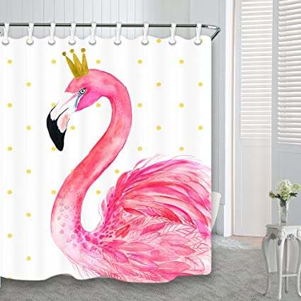 Flamingo Shower Curtains For Bathroom Cartoon Design Tropical Bird Pink Kids Pretty Girl