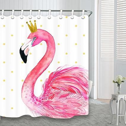 Flamingo Shower Curtains For Bathroom, Cartoon Design Tropical Bird Flamingo  Pink For Kids Pretty Girl