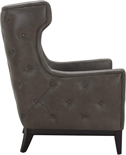Amazon Brand Stone Beam Rosewood Button-Tufted Leather Wingback Accent Chair