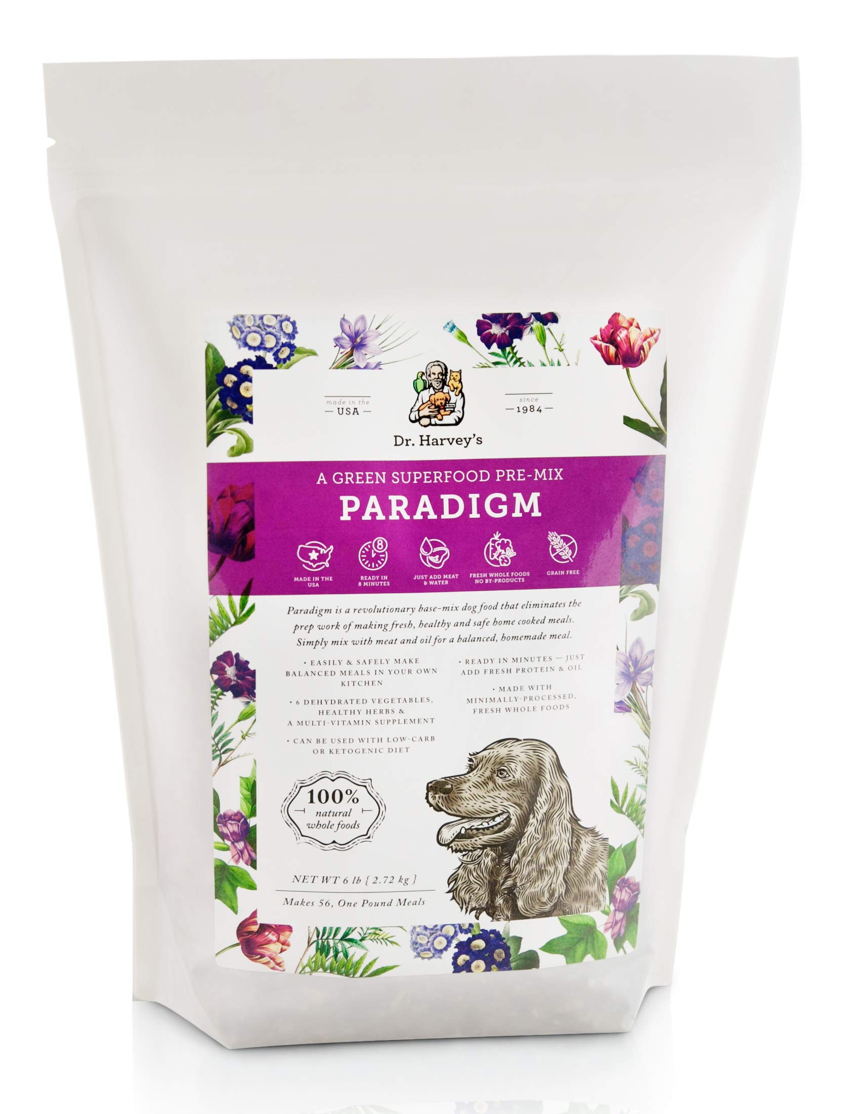 Dr. Harvey's Paradigm Green Superfood Dog Food, Human Grade Dehydrated Grain Free Base Mix for Dogs, Diabetic Low Carb Ketogenic Diet (6 Pounds) by Dr. Harvey's