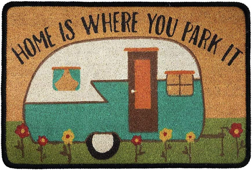 chaqlin Welcome Mats Funny Doormats Home is Where Your Park It with Personalized Design Entrance Way Indoor and Outdoor Rubber Doormat Non-Slip Kitchen Mats and Rugs Camper
