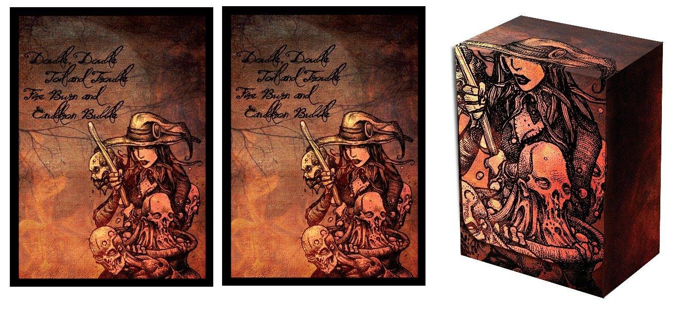 Legion Iconic Witch and CAULDRON Deck Box + 100 Matching Matte Finish Sleeves (fits Magic / MTG, Pokemon Cards)