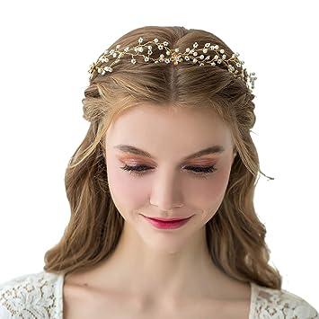 a59b4e4bd Amazon.com : SWEETV Gold Wedding Headband Headpiece-Hair Vine for Brides  Women Birdal Hair Accessories : Beauty