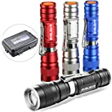 Pack of 4 Flashlights, BYB 180 Lumens Small Flashlight Super Bright Zoomable Mini Pocket LED Flashlight with Clip, 3 Modes for Outdoors and Indoors (Camping, Hiking, Emergency, & Kids)