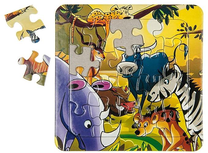 Wilde Tiere Mitgebsel Puzzles Puzzle Dschungelmotive 14 x 14 cm 16 tlg Großhandel & Sonderposten