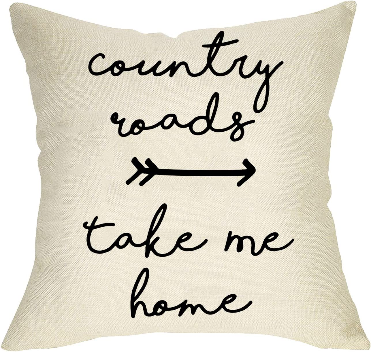 Softxpp Country Roads Take Me Home Quotes Throw Pillow Cover, Christmas Farmhouse Decorative Cushion Case Xmas Home Decoration Winter Square Pillowcase Decor for Sofa Couch 18 x 18 Inch Cotton Linen