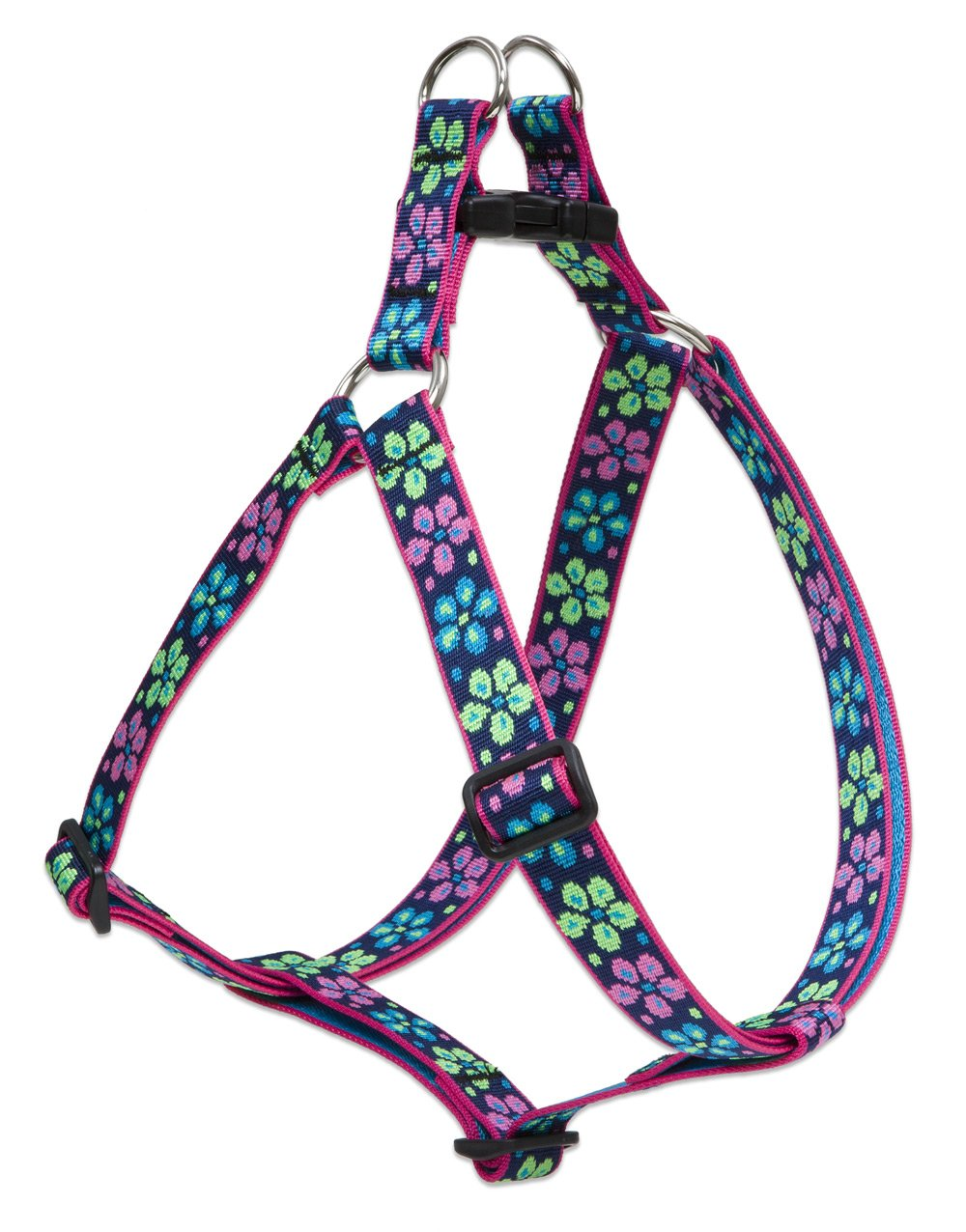 LupinePet Originals 1'' Flower Power 24-38'' Step In Harness for Large Dogs