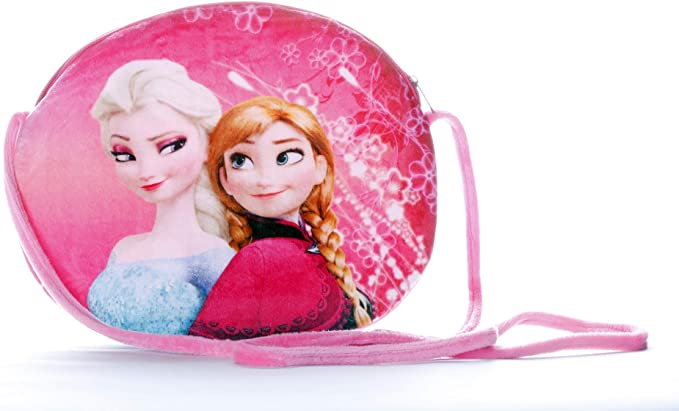 HC Toys LLP Disney Frozen Sisters Pink Princess Elsa and Anna Sling Bag for Baby Girls Kids