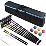 [6 Players]Premium Croquet Set for Families, BroWill Croquet Set with Carrying Bag for Yard Outdoor Lawn Backyard Games for K