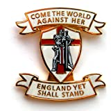 """ENGLAND LAPEL BADGE """"COME THE WORLD AGAINST HER - ENGLAND YET SHALL STAND"""" - Patriotic Pin Badge, Crusader, UK Seller"""