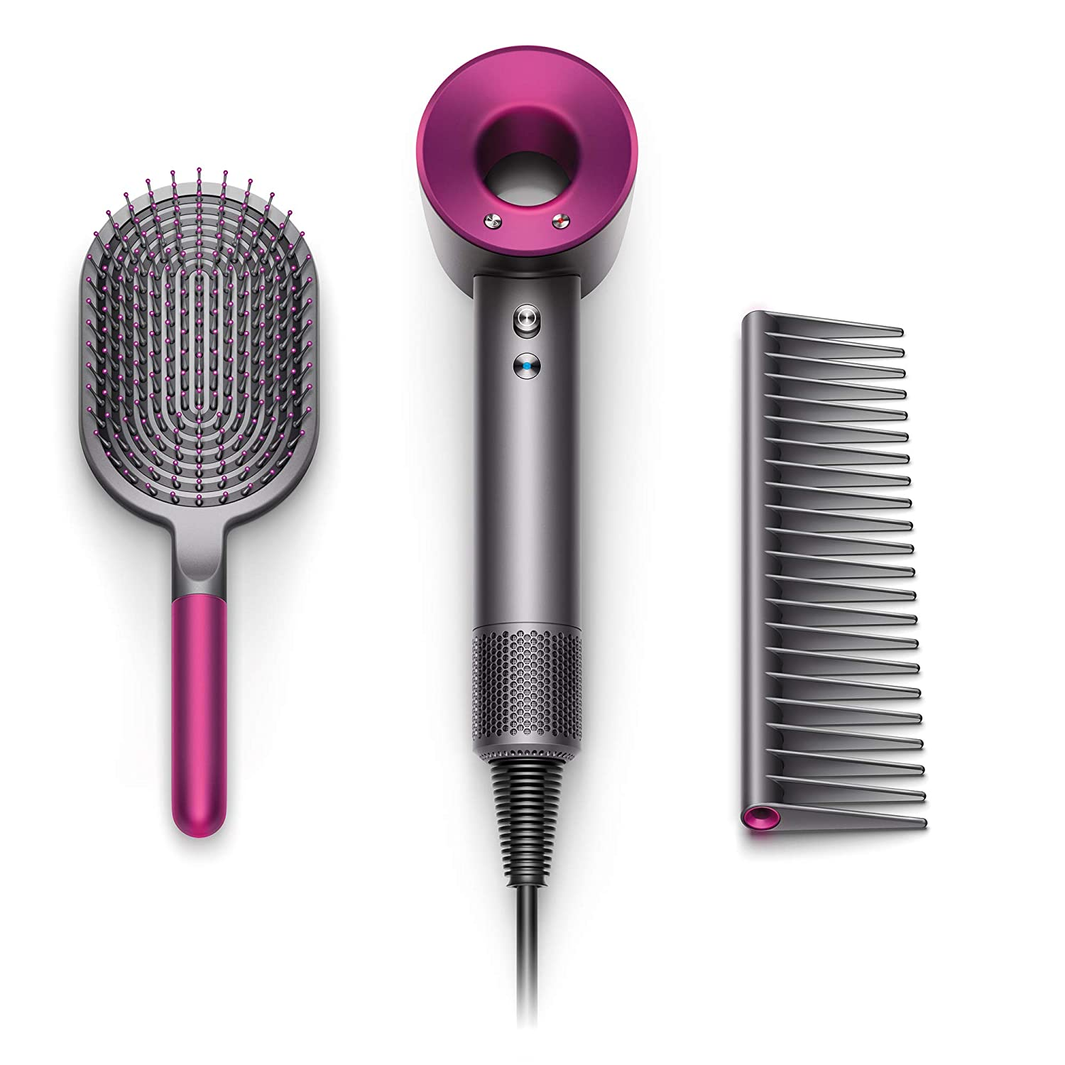 Dyson Supersonic Hair Dryer Special Edition-Complimentary Gift Set Designed Paddle, Iron Fuchsia w Brush Comb