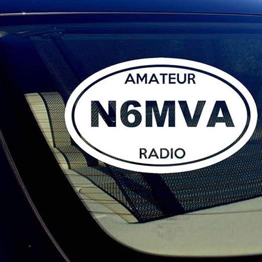 Set of 2 RED Amateur Radio Callsign Decals