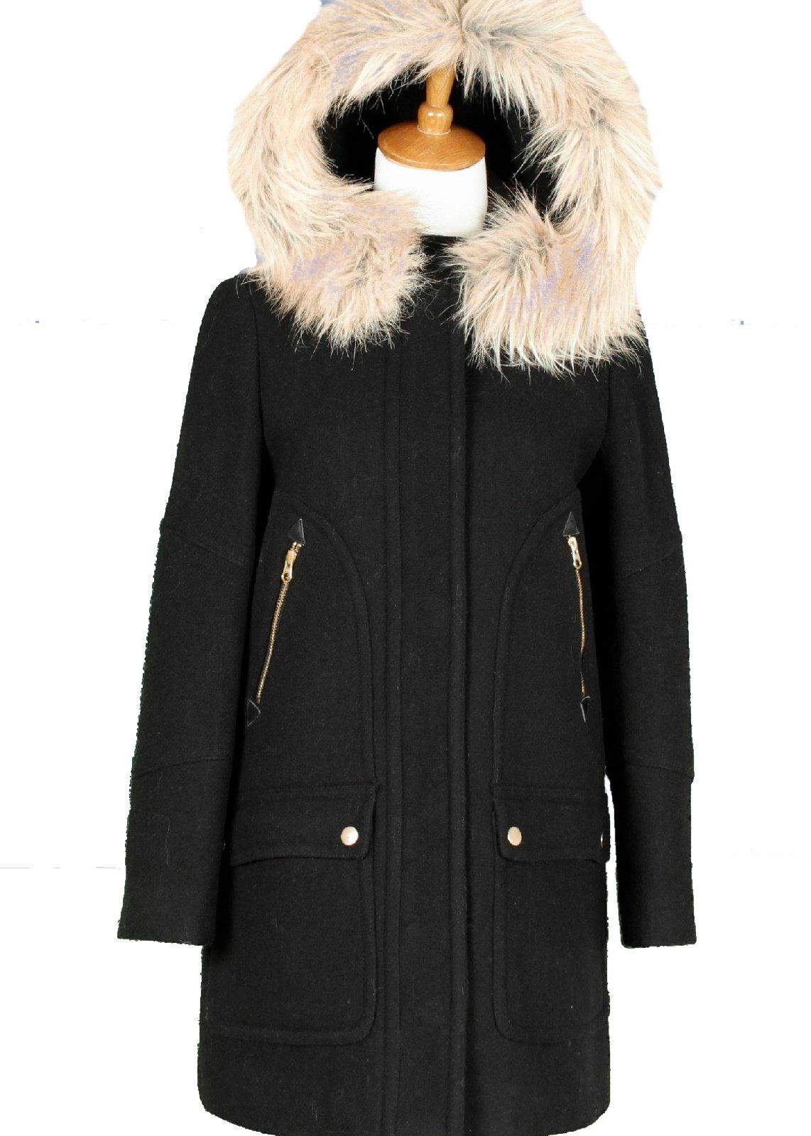 J Crew Chateau Parka Black Size 000 Style B3901 Black Jacket Coat