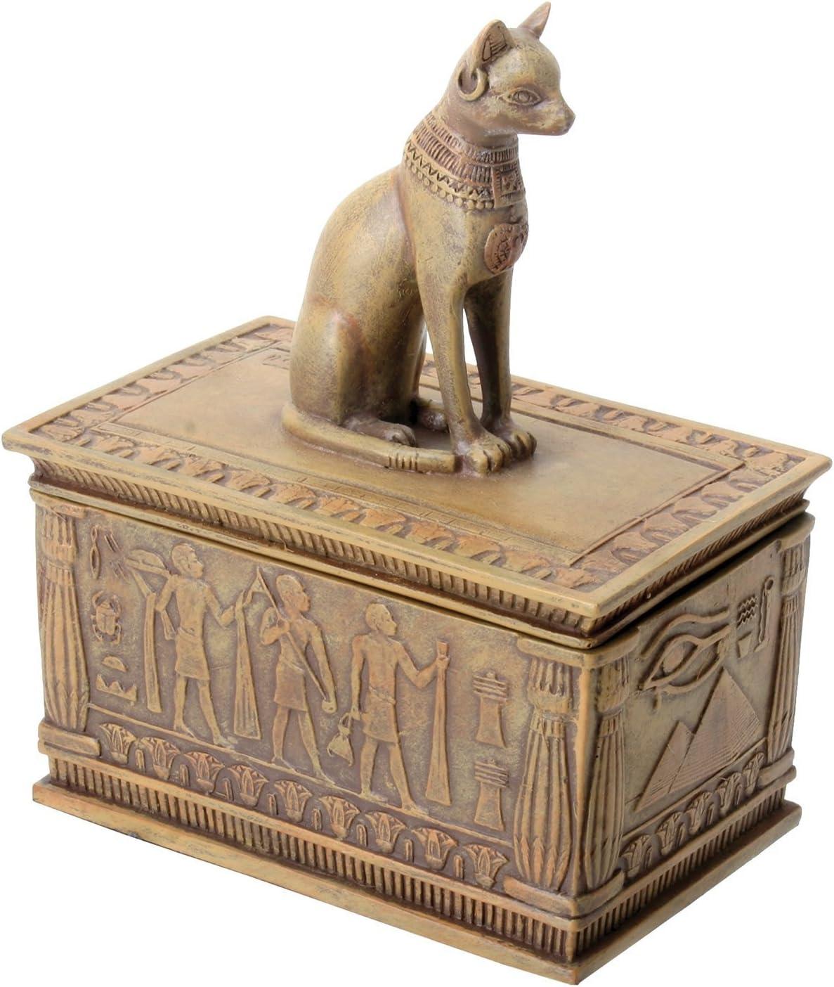 Summit Sandstone Colored Bastet Box with Egyptian Detailed Bottom Design