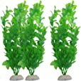 uxcell Aquarium Fish Tank Green Plastic Artificial Plants 10.6inch High 3Pcs