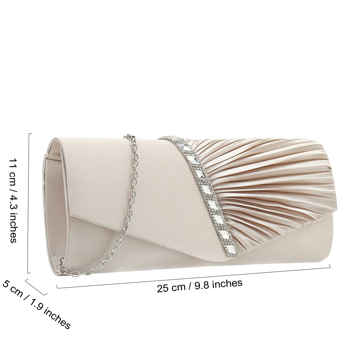 Charming Tailor Evening Handbag Crystal Embellished and Pleated Satin Clutch (Champagne) by Charming Tailor (Image #3)
