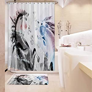 ALUONI Electricity Production in The USA.The Hoover Dam on River and Arch Bridge,Shower Curtain Sets Bathroom Rug Kitchen mats and Rugs Size1