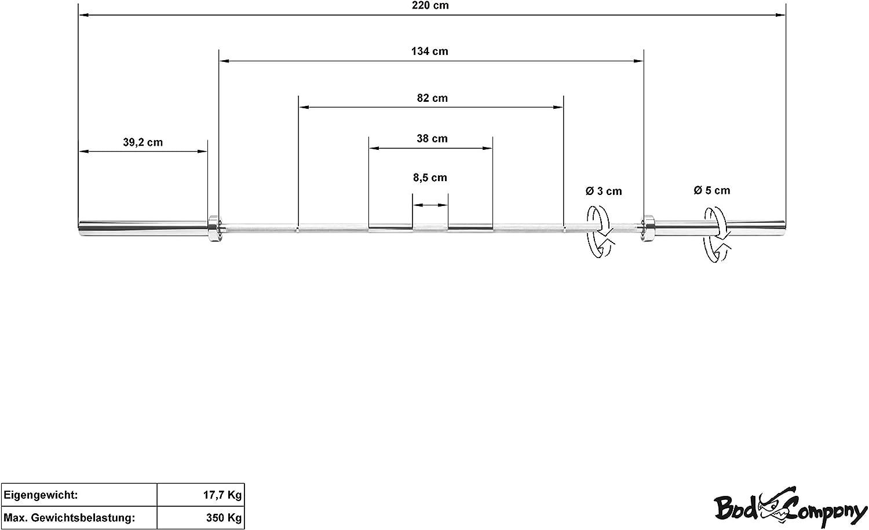 Bad Company Olympia Langhantelstange inkl Federverschl/üsse 50//51 mm I Ger/ändelte und markierte Hantelstange mit Kugellager I Chrom 152//168//183//220 cm//Federstahl I Gewichtsbelastungen 300-750 kg